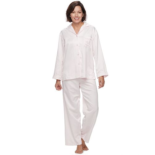 Women S Miss Elaine Essentials Pajamas Brushed Back Satin Notch Collar Pj Set