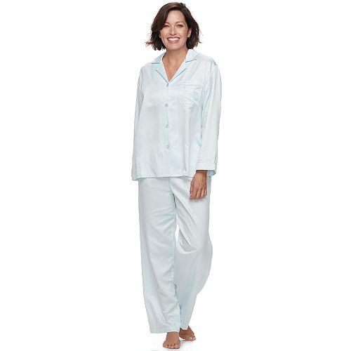 Petite Miss Elaine Essentials Pajamas  Brushed Back Satin Notch Collar PJ  Set de56b2d2a