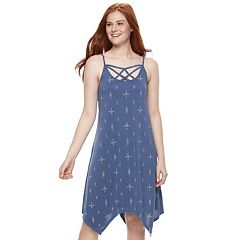 Juniors' Mudd® Strappy Handkerchief Hem Dress
