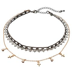 Mudd® Tri Tone Cross Multi Strand Choker Necklace