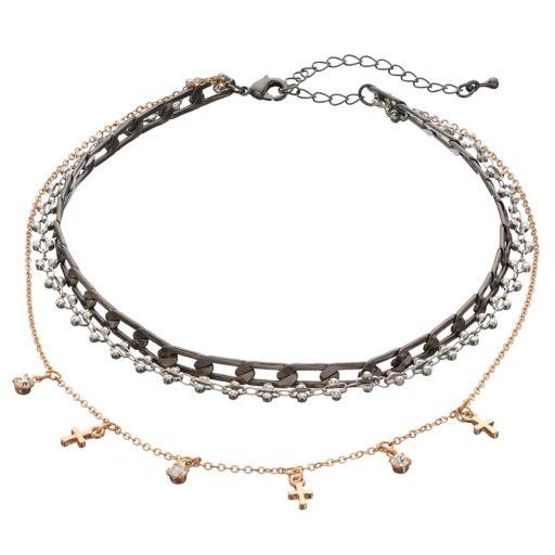 Mudd® Tri Tone Cross Multi Strand Choker Necklace