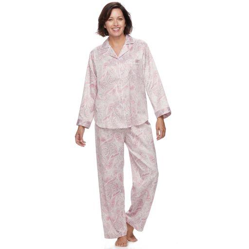 Women's Miss Elaine Essentials Pajamas: Brushed Back Satin Notch Collar PJ Set