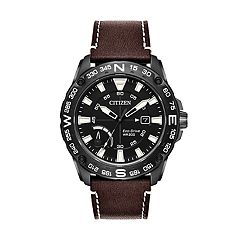 Citizen Eco-Drive Men's PRT Black Ion-Plated Stainless Steel & Leather Watch - AW7045-09E
