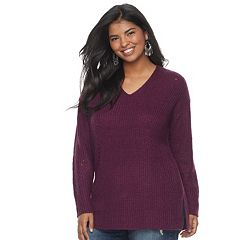 Juniors' Plus Size It's Our Time Crossback Tunic Sweater