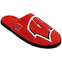 Men's Forever Collectibles Wisconsin Badgers Colorblock Slippers