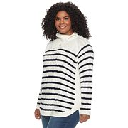 Plus Size Croft & Barrow® Splitneck Cable-Knit Sweater