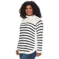 Plus Size Croft & Barrow® Splitneck Cable-Knit Sweater
