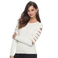Women's Jennifer Lopez Cutout Sleeve Crewneck Sweater