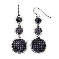 Black Glittery Disc Nickel Free Triple Drop Earrings