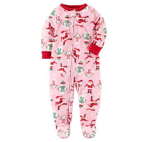 Toddler Girl Carter's Christmas Pattern Microfleece Footed One-Piece Pajamas