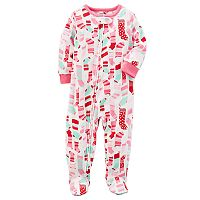 Toddler Girl Carter's Christmas Pattern Microfleece Footed One-Piece Pajamas