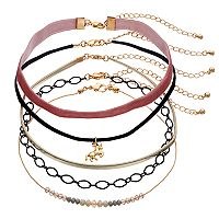 Mudd® Unicorn, Beaded, Velvet & Faux-Leather Choker Necklace Set