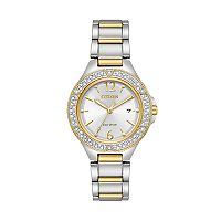Citizen Eco-Drive Women's Silhouette Crystal Two Tone Stainless Steel Watch - FE1164-53A