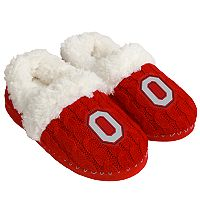 Women's Forever Collectibles Ohio State Buckeyes Cable Knit Slippers