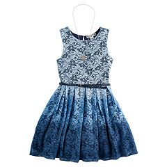Girls 7-16 Knitworks Ombre Lace Belted Skater Dress with Necklace