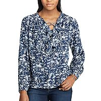 Women's Chaps Floral Ruffled Peasant Top