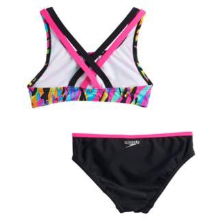 Girls 7-16 Speedo Crossback Cami Bikini Top & Bottoms Swimsuit Set