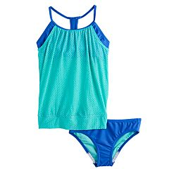 Girls 7-16 Speedo Mesh Overlay Blouson Tankini Top & Bottoms Swimsuit Set