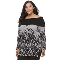 Plus Size Rock & Republic® Off-the-Shoulder Tie-Dye Sweater