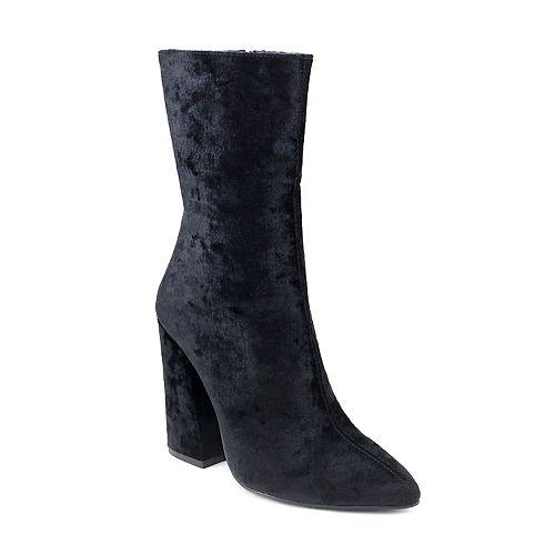 Olivia Miller Maspeth Women's Velvet High Heel Ankle Boots