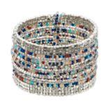 Aqua Beaded Cuff Bracelet