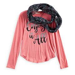 Girls 7-16 Self Esteem Foil Graphic Tee & Infinity Scarf Set with Necklace