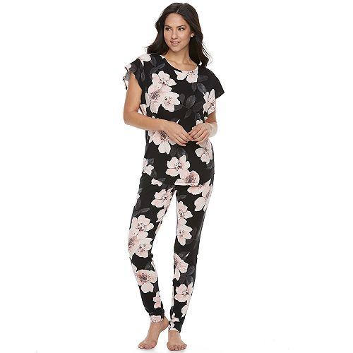 Women s Apt. 9® Pajamas  Short Sleeve Sleep Tee   Banded Bottom Sleep Pants  Pants Set ffd07ef8b