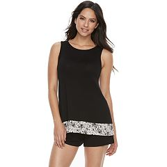 Women's Apt. 9® Pajamas: High Neck Ruffle Tank & Shorts Set