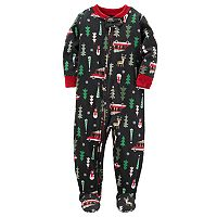 Toddler Boy Carter's Racing Off to Bedtime Christmas Microfleece One-Piece Pajamas