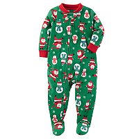 Baby Boy Carter's Holiday Patterned Microfleece One-Piece Pajamas
