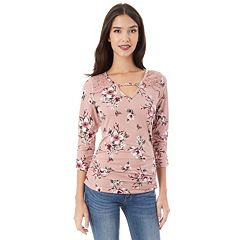 Juniors' IZ Byer Floral Ruched Top