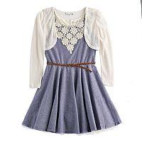 Girls 7-16 Knitworks Crochet Shrug & Crochet Neckline Belted Chambray Skater Dress Set