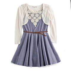 Girls 7-16 Knitworks Crochet Shrug & Crochet Neckline Belted Chambray Skater Dress Set