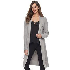 Women's Jennifer Lopez Long Ribbed Cardigan
