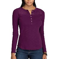 Women's Chaps Lace-Trim Henley Shirt