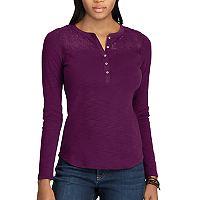 Women's Chaps Lace-Trim Henley Shirt