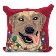 Liora Manne Frontporch Happy Holidays Dog Indoor Outdoor Throw Pillow