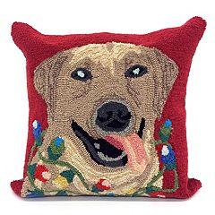 Liora Manne Frontporch Happy Holidays Dog Indoor Outdoor Throw Pillow