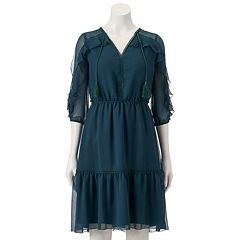 Women's LC Lauren Conrad Ruffle Cold-Shoulder Shift Dress