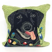 Liora Manne Frontporch Season's Greetings Dog Indoor Outdoor Throw Pillow