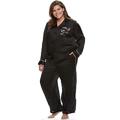 Plus Size Apt. 9® Pajamas: Satin Notch Collar Shirt & Pant Set
