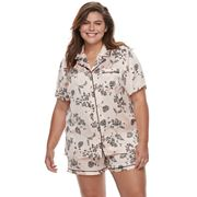 Plus Size Apt. 9® Pajamas: Satin Notch Collar Shirt & Shorts Set