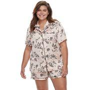 Plus Size Apt. 9® Pajamas: Satin Notch Collar Shirt & Shorts Set