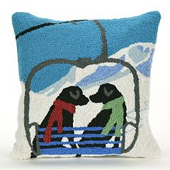 Liora Manne Frontporch Ski Lift Love Indoor Outdoor Throw Pillow