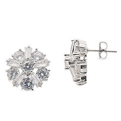 Starlight Silver Plated Cubic Zirconia Cluster Stud Earrings
