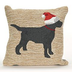 Liora Manne Frontporch Christmas Dog Indoor Outdoor Throw Pillow
