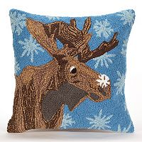 Liora Manne Frontporch Moose & Snowflake Indoor Outdoor Throw Pillow