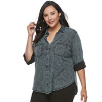 Plus Size Rock & Republic® Cuffed Shirt