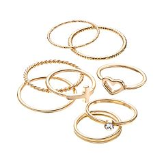 LC Lauren Conrad Heart, Cross & Textured Ring Set