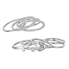 447916359 LC Lauren Conrad Heart, Cross & Textured Ring Set